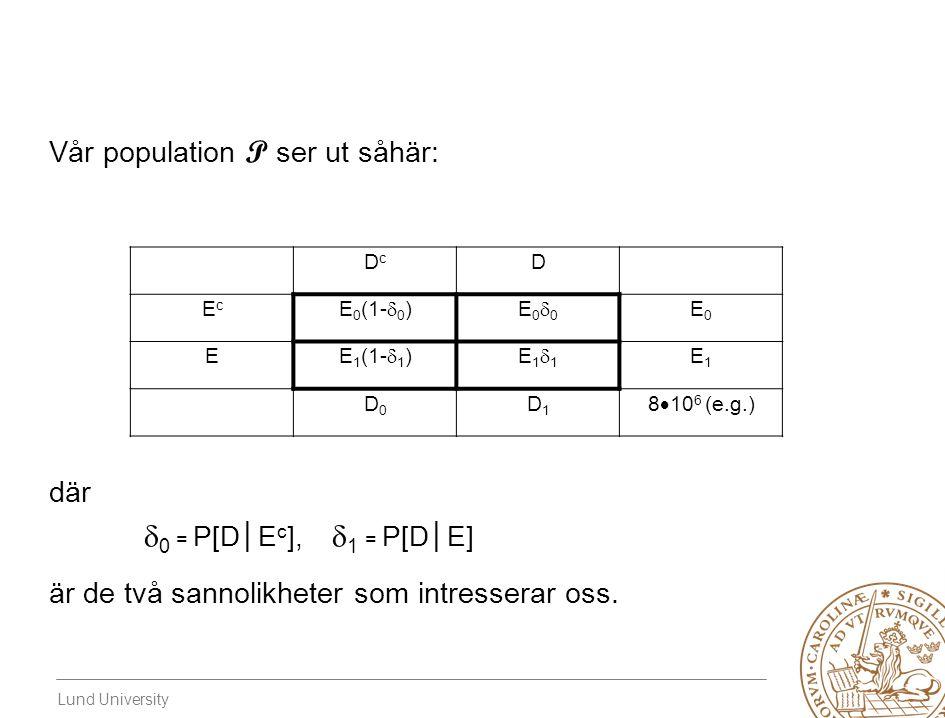 0 = P[D│Ec], 1 = P[D│E] Vår population P ser ut såhär: där